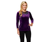 As Is Bob Mackies Embroidered Mesh Inset Velvet Pullover - A283341