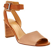 As Is Marc Fisher Leather Ankle Strap Block Heel Sandals-Genette - A284441