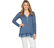LOGO by Lori Goldstein Striped Rib Knit Henley Top w/ Lace Hem - A285341
