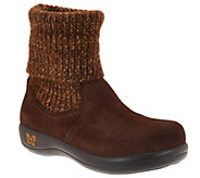 Alegria Suede and Knit Foldover Boots - Juneau - A285541