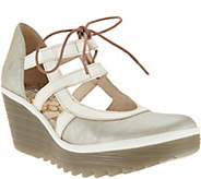 FLY London Leather Wedges with Tie Detail - Yett - A286441