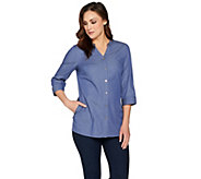 Denim & Co. Button Front Tunic Shirt with Grommet Detail - A286841