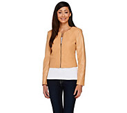 As Is View by Walter Baker Cropped Long Sleeve Faux Leather Jacket - A287241