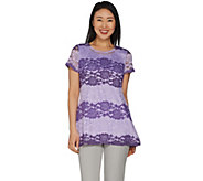 Isaac Mizrahi Live! Ombre Lace Short Sleeve Tunic - A287441
