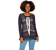 LOGO Lavish by Lori Goldstein Crochet Lace Cardigan with Knit Sleeves - A288041