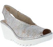 FLY London Leather Perforated Peep-toe Wedges - Yazu Perf - A290441
