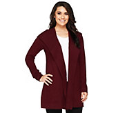 As Is Issac Mizrahi Live! 2-Ply Cashmere Hooded Ribbed Sweater Coat - A294841