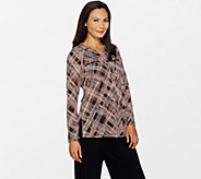 Susan Graver Printed Liquid Knit Shirt with Zipper Pockets - A297141