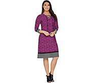 Susan Graver Printed Liquid Knit Dress with Lacing - A301141
