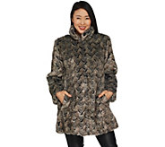 Dennis Basso Platinum Collection Basket Weave Faux Fur Coat - A301441