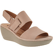 Clarks Nubuck Leather Adjustable Wedge Sandals - Reedly Breen - A306041