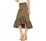 Du Jour Button Front Knit Skirt with Flounce Detail - A307041