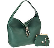 As Is Dooney & Bourke Leather Hobo with Logo Lock - A214442