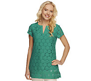 Isaac Mizrahi Live! Short Sleeve Split V-Neck Lace Tunic - A214742