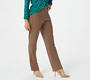 Susan Graver Milano Knit Petite Straight Leg Pull-on Pants - A225942