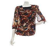 M by Marc Bouwer Abstract Print Cowl Neck Top with Tank - A226642