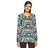 Quacker Factory Animal Print Button Front Sparkle Cardigan - A234942