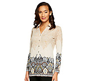 Susan Graver Liquid Knit Button Front Border Print Shirt - A240142