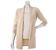 As Is Susan Graver Open Front Cardigan Sweater with Roll Sleeve - A251842