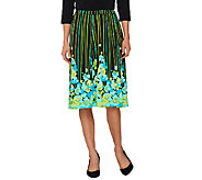Bob Mackies Floral Print Jersey Knit A-Line Pull-On Skirt - A254142