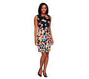 Dennis Basso Floral Printed Stretch Sateen Sleeveless Sheath Dress - A254542