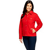 Denim & Co. Stretch Denim Button Front Jacket with Etched Buttons - A257142