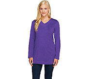 Denim & Co. Essentials Flat Back Rib Tunic w/ Stitching - A257342