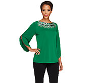 Bob Mackies 3/4 Sleeve Top with Embellished Neckline - A258142