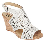 Isaac Mizrahi Live! Perforated Leather Wedge Sandals - A264242