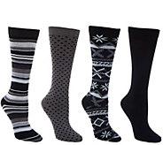 MUK LUKS 4 Pairs Patterned Trouser Socks - A268642