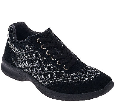 Judith Ripka Quilted Suede Lace-up Sneakers - Becky - A270342