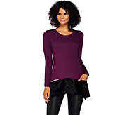 LOGO by Lori Goldstein Knit Top with Crushed Velvet Hem & Pockets - A271142