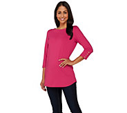 Susan Graver Butterknit 3/4 Sleeve Tunic with Button Detail - A272342