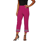 Bob Mackies Pull-On Ponte Knit Crop Pants with Sequin Detail - A273542