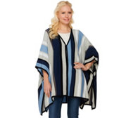Isaac Mizrahi Live! SOHO Striped Sweater Poncho w/ Side Slits