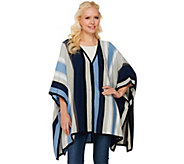 Isaac Mizrahi Live! SOHO Striped Sweater Poncho with Side Slits - A273642