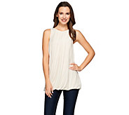 H by Halston Sleeveless Knit Tank with Pleated Neckline Detail - A274542