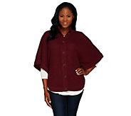 As Is Denim & Co. Stand Collar Button Front Poncho Sweater - A276042