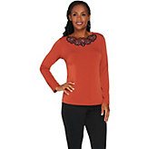 Bob Mackies Floral Embroidered Knit Pullover - A279242