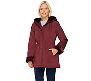 As Is Dennis Basso Cinch Waist Quilted Anorak W/ Faux Fur - A279642