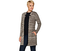 H by Halston Double Knit Jacquard Sweater Coat - A281242