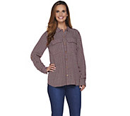 C. Wonder Rope Print Button Front Carrie Blouse - A281442