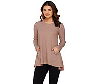 As Is LOGO by Lori Goldstein Thermal Knit Top with Chiffon Back - A283442