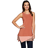 As Is LOGO by Lori Goldstein Knit Tank with Contrast Hem - A284042