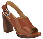 As Is Marc Fisher Leather Cross-band Sandals - Faithe - A284442