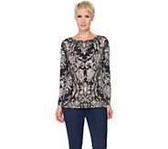 Susan Graver Artisan Printed Liquid Knit Embellished Top - A285442