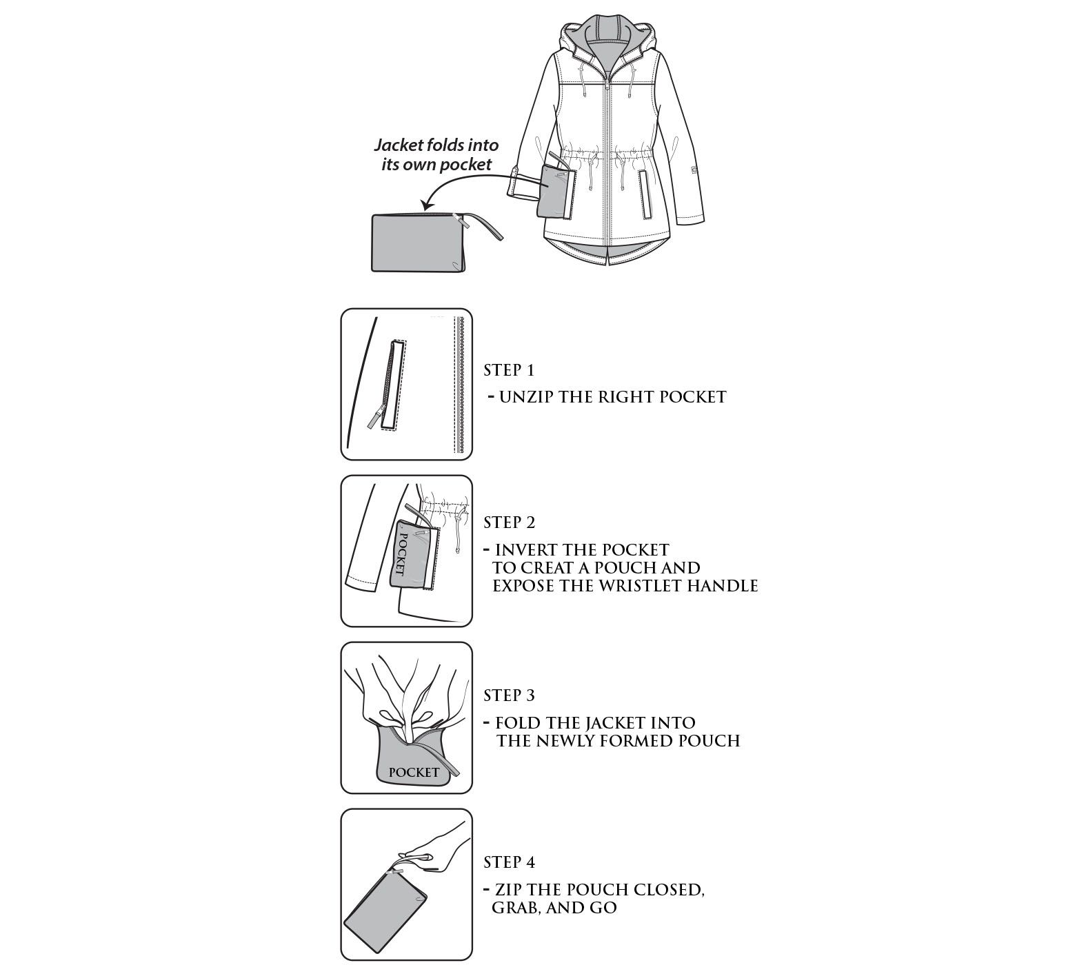 Parka in a pocket how to fold