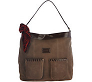As Is Tignanello Suede RFID Front Pocket Hobo with Scarf - A288942