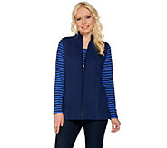 As Is Denim & Co. Active Long Sleeeve Striped Top and Quilted Vest Set - A289142