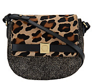 As Is Isaac Mizrahi Live! Special Edition Hair Calf Saddle Bag - A292142